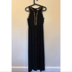 NWT SugarLips black maxi dress embroidered lace up